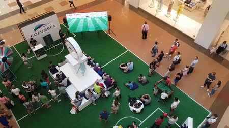посетитель : JUN 25, 2018, MOSCOW, RUSSIA: Soccer fans zone in shopping mall FIFA World Cup 2018