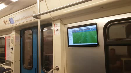 rusya : JUN 16, 2018 MOSCOW, RUSSIA: Screen in subway train with FIFA soccer championship 2018
