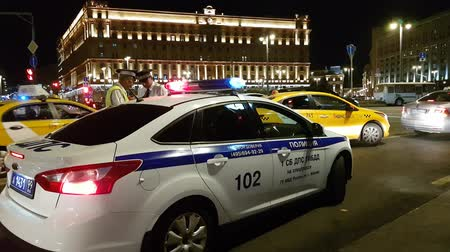 kgb : JUN 30, 2018, MOSCOW, RUSSIA: Police car on the road Lubyanka st Moscow