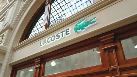 kirakat : JUN 30, 2018, MOSCOW, RUSSIA Lacoste Store Sign in GUM MOSCOW