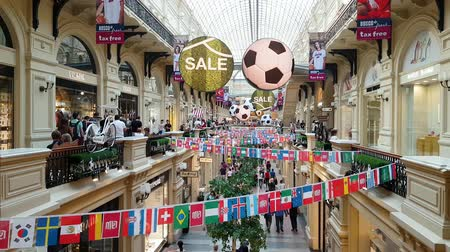 evrensel : JUN 30, 2018, MOSCOW, RUSSIA: The Interior Of Gum Department Store On The Red Square dedicated to 2018 world soccer chamopionship