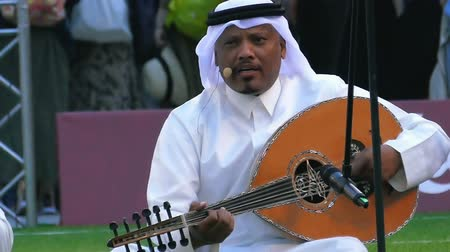 the bedouin : JUN 11, 2018 MOSCOW, RUSSIA: Arabian music band from Qatar at FIFA World championship 2022 presentation