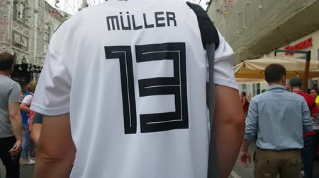 muller : JUL 15, 2018, MOSCOW, RUSSIA: Man in German team t-shirt in time of FIFA soccer world Championship.