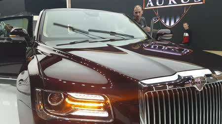 limuzína : Close-ups of the new Russian Aurus limousine at the exhibition MIMS 2018. SEP 03, 2018 MOSCOW, RUSSIA