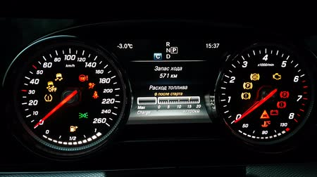 hız göstergesi : Speedometer and tachometer with additional instruments on Mersedes car dashboard.