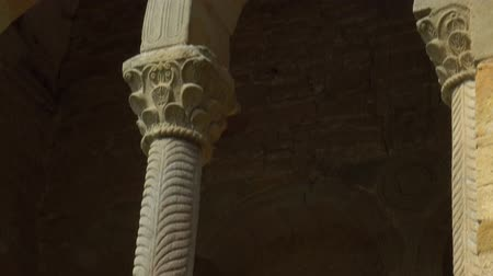 desenli : Patterned columns arched passages of the ancient church. Santa Maria del Naranco
