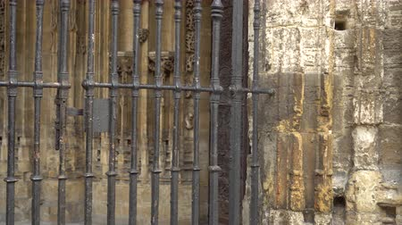 romanesk : Metal fence in the Cathedral in Oviedo Stok Video