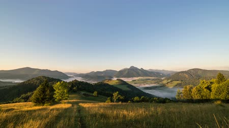 golden time : Sunrise in summer rural country. Fog in landscape valley time lapse dolly shot zoom in