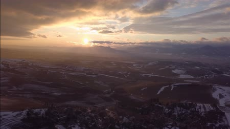 lowland : Aerial sunset over rural country Stock Footage