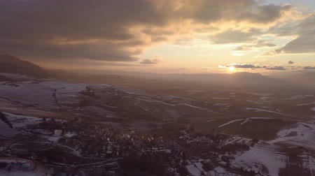 lowland : Aerial panoramic view of sunset over rural country