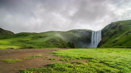 skogafoss : Morning light over waterfall Skogafoss in green Icelandic nature Time lapse