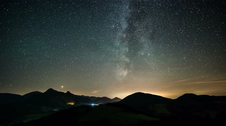 doğa arka plan : Time laspe milky way and stars over mountains landscape Stok Video
