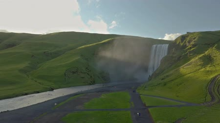 skogafoss : Skogafoss waterfall in sun light in Iceland