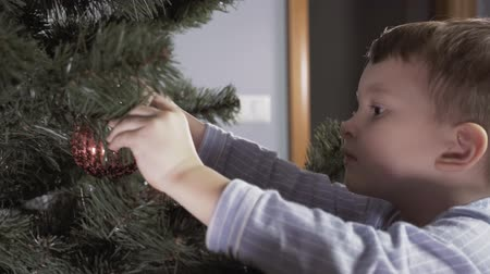 пижама : Boy decorate a Christmas tree Стоковые видеозаписи