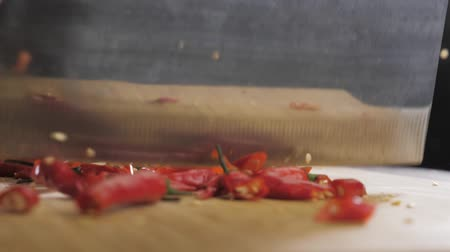 Hand cuts red hot pepper Stok Video