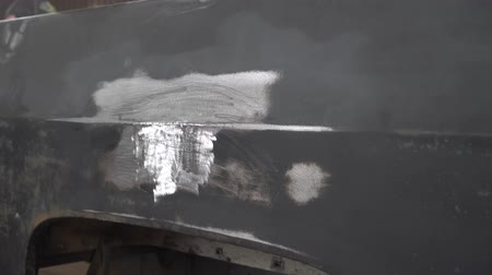 repaint : The car is repaired with stud welding Stock Footage