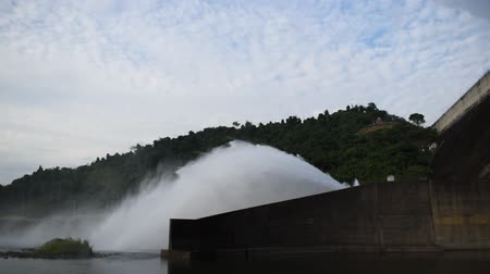 hasznosság : water splashing from floodgate Khun Dan Prakarn Chon huge concrete dam in Thailand