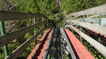 view from roller coaster running in Ba Na hills Vietnam Stok Video