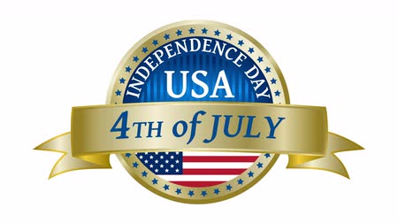 четверть : Happy Independence Day United States of America, 4th of July golden badge with animated ribbon. 4K resolution. Стоковые видеозаписи