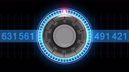 cadarço : Combination lock choosing the right combination of numbers. 4K virtual animation spinning combination lock.
