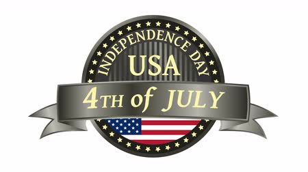 июль : Happy Independence Day United States of America, 4th of July badge with animated ribbon. 4K resolution. Стоковые видеозаписи
