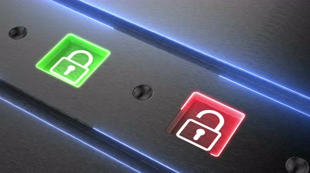 hozzáférés : Security of personal data concept animation. Blue lock locked safe, red padlock unlocked risk for digital data. Process for security of information systems and data. 4K seamless loop.