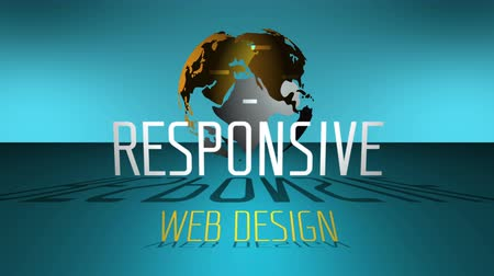web sites : Web design animation, rules words in the background spinning globe. 4K UHD video seamless loop.