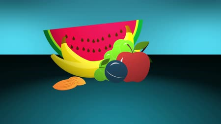 vitamin : Animated fruits for a healthy life, template for your text. 4K UHD video.