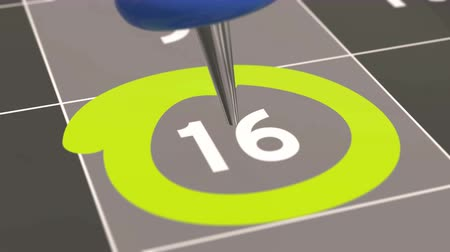 rajzszeg : Pin on the date number 16. The sixteenth day of the month is marked with a blue thumbtack. 4K video animation.