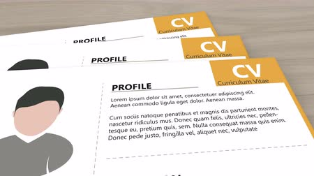 resumes : Flyby camera over cv, curriculum vitae, resumes on wooden table. 4K video animation. Stock Footage
