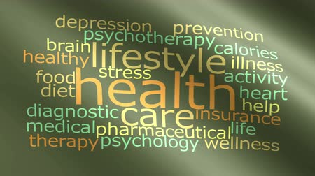 zihinsel : Health word cloud animated flag. 4K video animation seamless loop. Stok Video