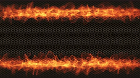 perforation : Flames of fire on black carbon sheet background. Place for your text. Slow motion 4K UHD video loop. Stock Footage