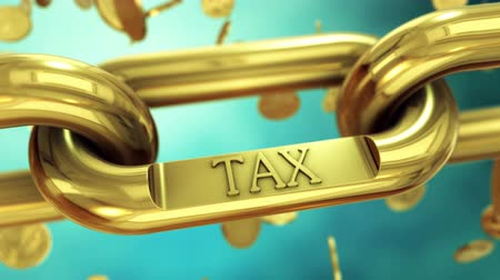 impostos : Tax symbol on gold chain with falling coins. 4K UHD animated video.