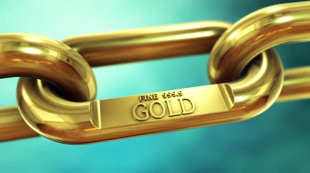 que vale a pena : Rotating chain of fine gold. Finance and investment animation concept.