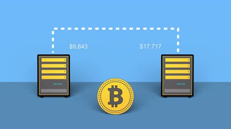 currency trading : Cryptocurrency Bitcoins mining on computer. 4K UHD flat animation.