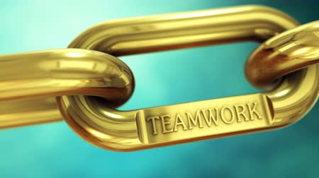 chains : Teamwork as symbol on gold chain. Together for success. Stock Footage
