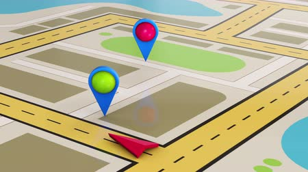 штифт : GPS travel and navigation map of city animation