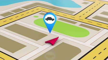 marker : Car service and navigation map as animation
