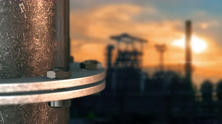 flange : Steel pipes with a flange at the background of a steel plant Stock Footage