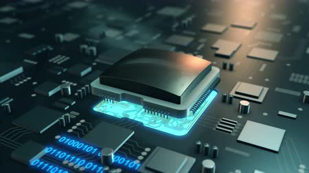 iş istasyonu : Big data stream on circuit board. Processor chip 4K UHD animated video.