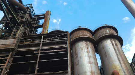 blast furnace : View of the old blast furnace of the metallurgical plant Stock Footage