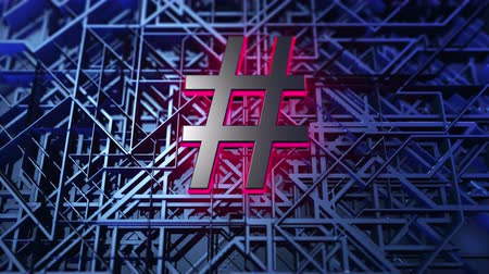 blue red : Hashtag sign in animated abstract background with tech grid