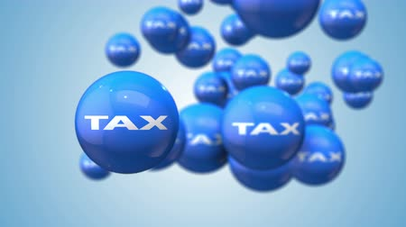 refund : Tax as financial metaphor of a blue moving ball of 3D animation loop