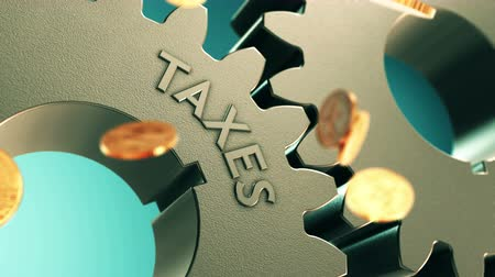 ücret : Taxes Financial Concept 3D Gears with Falling Gold Coins animation