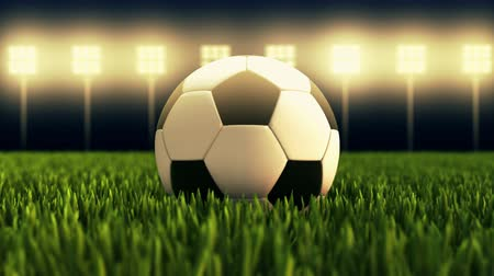 Soccer ball - football stadium in animation on illuminated stadium