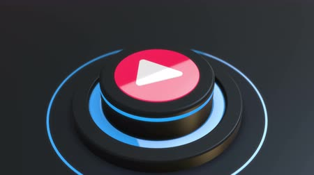 Button Play media video 3D animation Stock Footage