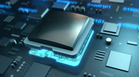Computer motherboard and processor chip with data transfer. 4K UHD animation video. Stock Footage