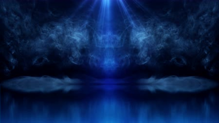 Stage with magic smoke and blue rays reflection. 4K UHD animation background.