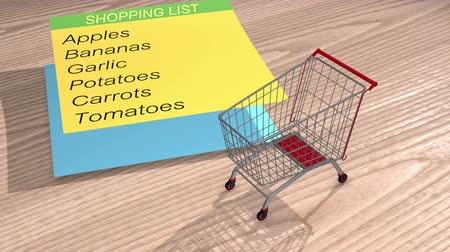 Shopping cart and shopping list vegetables and fruits animation video