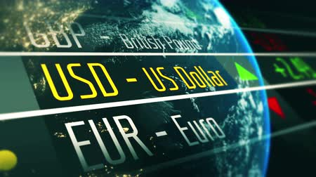Currency exchange rate US dollar 3D animation Stock Footage